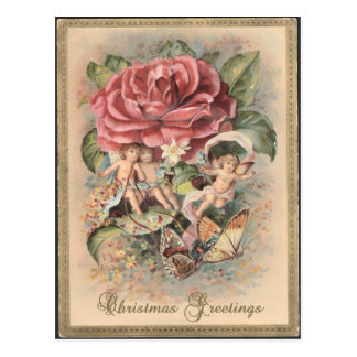 Victorian Roses & Cherubs Christmas Postcard
