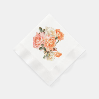 Victorian Roses Coined Cocktail Paper Napkins