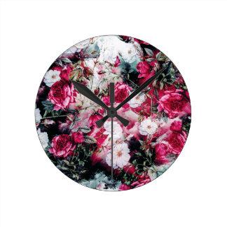 Victorian Roses Floral pink mauve white black Clock