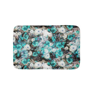 Victorian Roses Floral turquoise teal white black Bath Mat