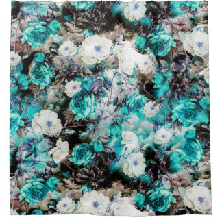 Victorian Roses Floral Turquoise Teal White Black Shower Curtain