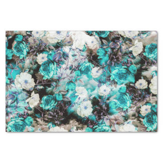 Victorian Roses Floral turquoise teal white black Tissue Paper