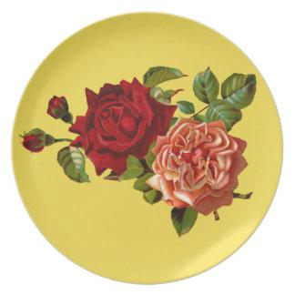 Victorian Roses Melamine Plate