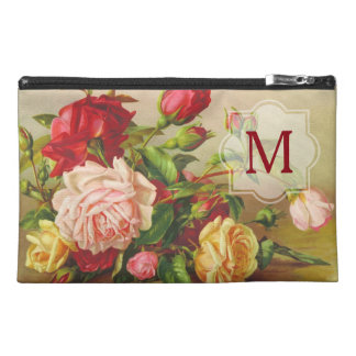 Victorian Roses Monogram Vintage Bouquet Flowers Travel Accessory Bag