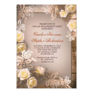 Victorian roses vintage engagement party invites