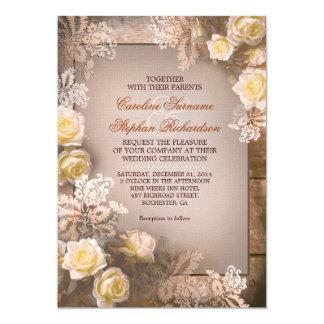 Victorian roses vintage rustic wedding invitations