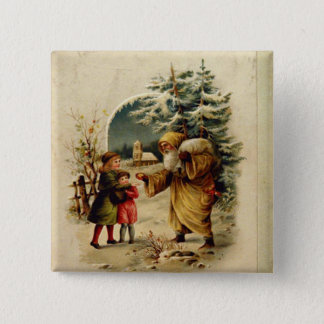 Victorian Santa 15 Cm Square Badge