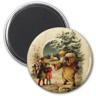 Victorian Santa 6 Cm Round Magnet