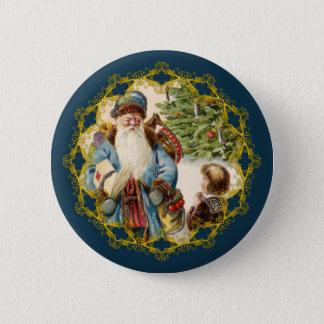 Victorian Santa and Boy Christmas Button