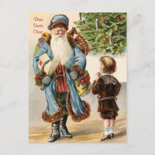Victorian Santa and Boy Christmas Postcard