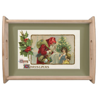 Victorian Santa and Children Christmas Serving Tray