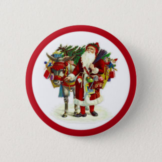 Victorian Santa and Donkey 6 Cm Round Badge
