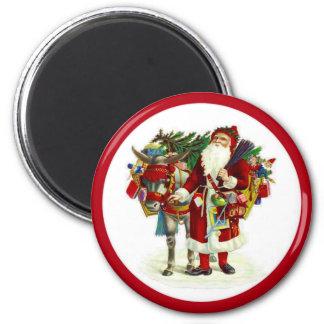 Victorian Santa and Donkey Refrigerator Magnet