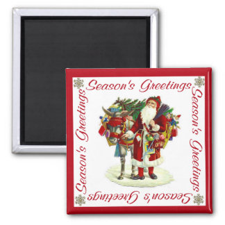 Victorian Santa and Donkey Square Magnet