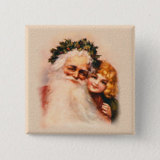 Victorian Santa and Girl 15 Cm Square Badge