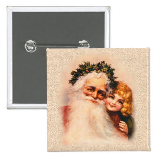 Victorian Santa and Girl 15 Cm Square Badge