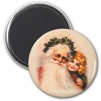 Victorian Santa and Girl 6 Cm Round Magnet