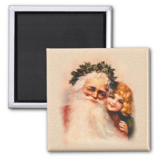 Victorian Santa and Girl Square Magnet