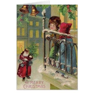 Victorian Santa Arrival Christmas Card