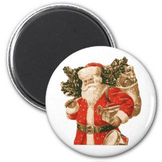Victorian Santa, bag of toys, Christmas tree 6 Cm Round Magnet
