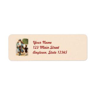 Victorian Santa Christmas Return Address Labels