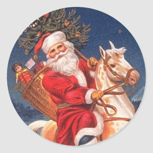 Victorian Santa Christmas Stickers