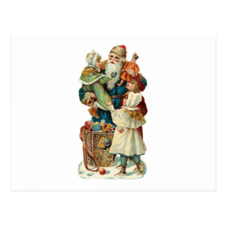 Victorian Santa Claus and Children Postcard