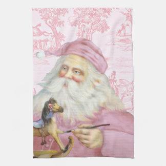 Victorian Santa Claus in Pink Toile de Juoy Tea Towel