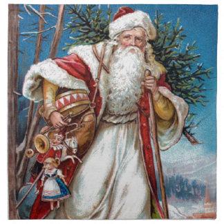 Victorian Santa Claus in Red Velvet and White Fur Napkin