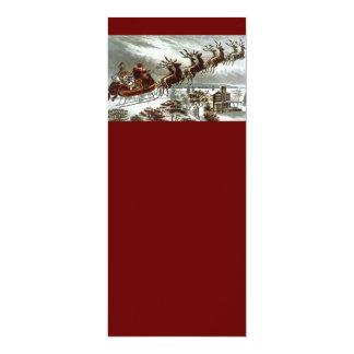 Victorian Santa Claus Reindeer and Sleigh 10 Cm X 24 Cm Invitation Card