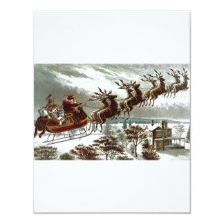 Victorian Santa Claus Reindeer and Sleigh 11 Cm X 14 Cm Invitation Card