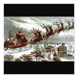 Victorian Santa Claus Reindeer and Sleigh 13 Cm X 13 Cm Square Invitation Card