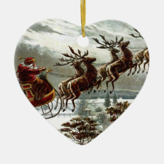 Victorian   Santa Claus Reindeer and Sleigh Ceramic Heart Decoration