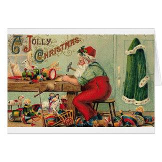 Victorian Santa in His  Workshop Christmas Card