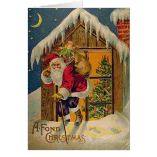 Victorian Santa on Rooftop Christmas Greeting Card
