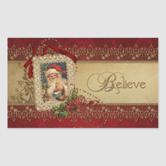 Victorian Santa with Poinsettia and Gold Lace Rectangular Sticker
