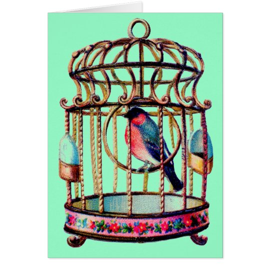 Victorian Scrap Die cut Bird Cage Card