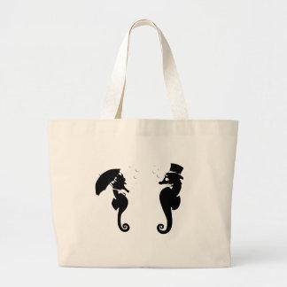 Victorian Seahorses Large Tote Bag