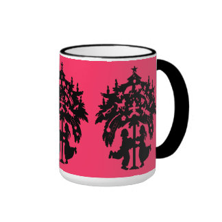 Victorian silhouette, Children, Christmas tree Ringer Coffee Mug