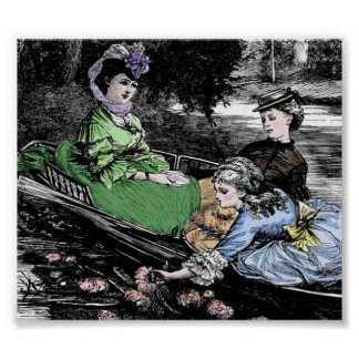 Victorian Sisters Canoeing Art Print