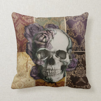 Victorian Skull and Roses Pillow. Throw Pillow
