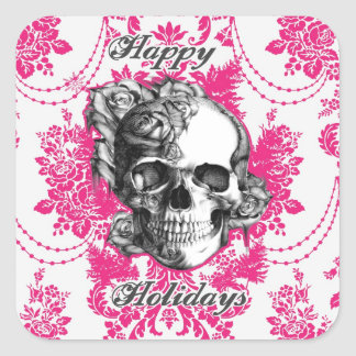 Victorian Skull Products. Classic PJ. Square Sticker