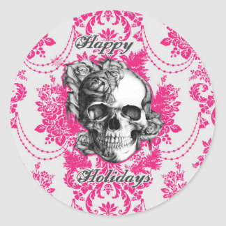 Victorian Skull Products. Classic PJ. Round Sticker