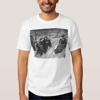 Victorian Sled Race Vintage Christmas Toboggan T Shirt