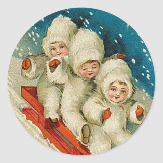 Victorian Snow Baby Christmas sticker