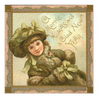 Victorian Square Christmas Card 13 Cm X 13 Cm Square Invitation Card