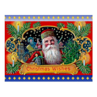 Victorian St. Nick with Gold Stars and Toys Postcard