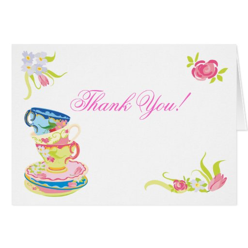 Victorian Stacked Tea Cups Tea Thank you notes Card