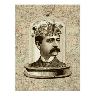 Victorian steampunk clockwork brain mechanical poster