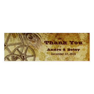 Victorian Steampunk Gears Feather Favor Business Card Template